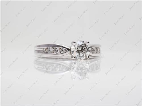 White Gold 0.74 Round cut Channel Set Engagement Ring