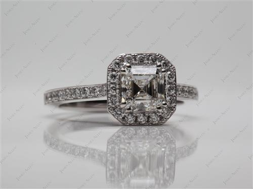 White Gold 1.15 Asscher cut Engagement Rings Pave