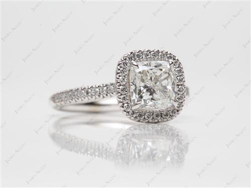 White Gold 1.74 Cushion cut Pave Diamond Engagement Rings