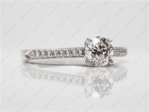 Platinum 0.90 Round cut Pave Diamond Rings