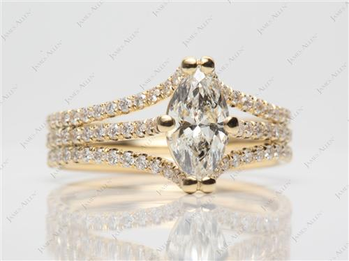 Gold 0.90 Marquise cut Micro Pave Wedding Band