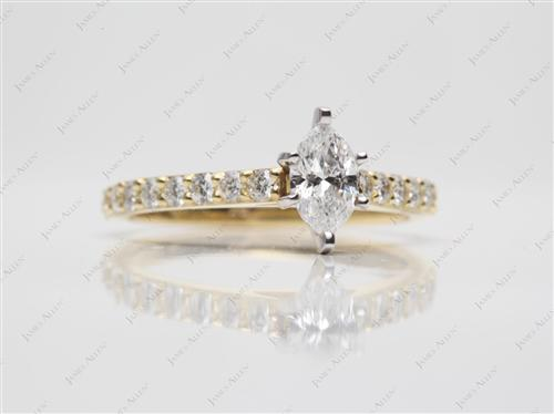 Gold 0.50 Marquise cut Engagement Rings Side Stones
