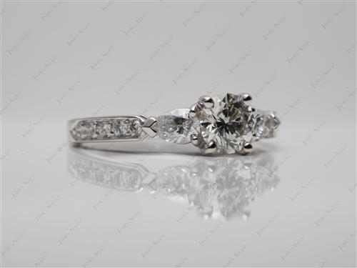 Platinum 0.79 Round cut Diamond Rings With Side Stones