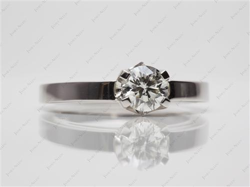 Platinum 0.62 Round cut Solitaire Engagement Ring