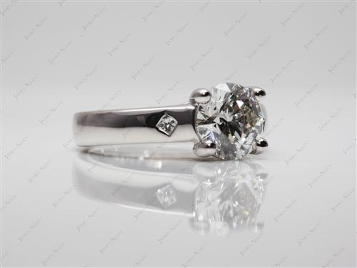 Platinum 1.30 Round cut Solitaire Diamond Rings