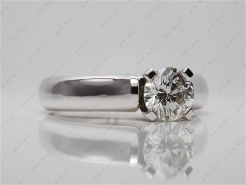 White Gold 1.00 Round cut Solitaire Ring Settings