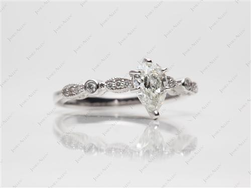 White Gold 1.01 Pear shaped Diamond Rings