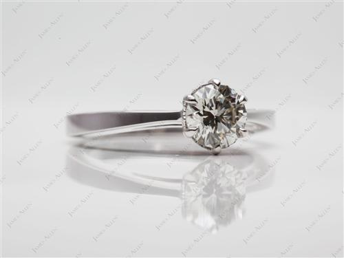 White Gold 0.70 Round cut Solitaire Engagement Rings