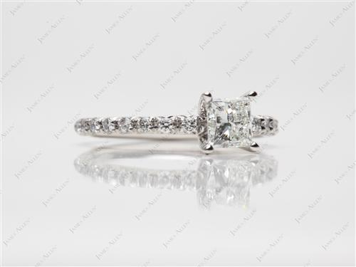 Platinum 0.86 Princess cut Pave Ring Setting