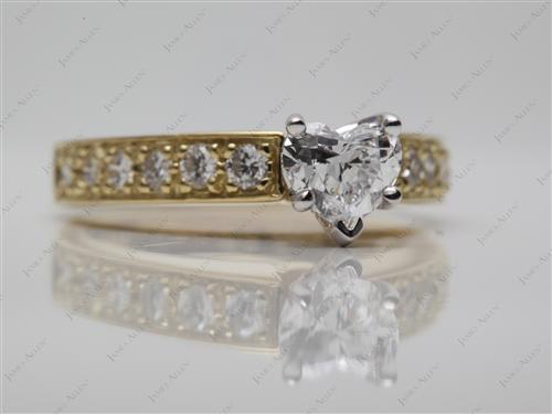 Gold 0.60 Heart shaped Pave Diamond Rings