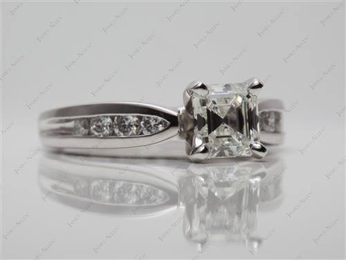 Platinum 1.01 Asscher cut Channel Set Engagement Ring