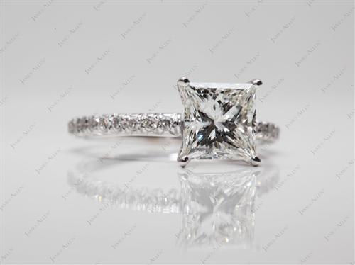 White Gold 1.75 Princess cut Pave Diamond Rings