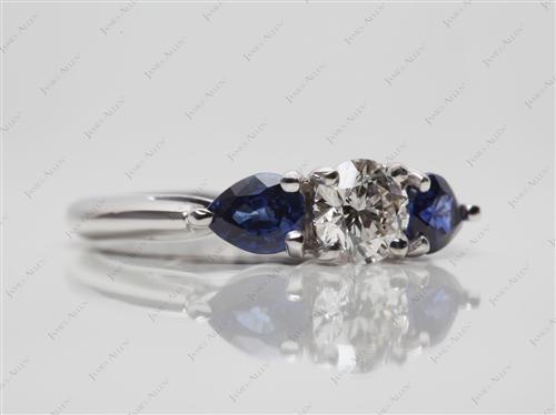 White Gold 0.50 Round cut Gem Stone Rings