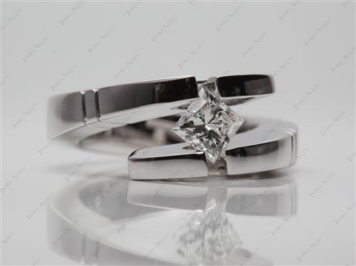 White Gold 0.59 Princess cut Tension Set Engagement Ring