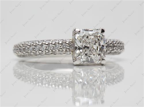 Platinum 1.05 Radiant cut Pave Ring Settings