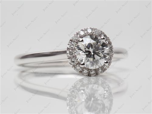 White Gold 0.60 Round cut Engagement Rings Pave