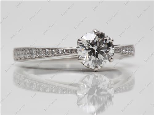 Platinum 0.74 Round cut Pave Ring Setting