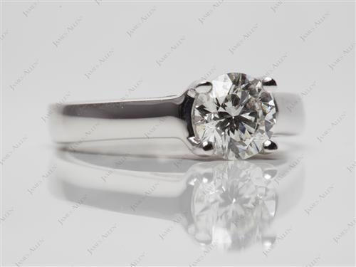White Gold 0.80 Round cut Round Solitaire Ring