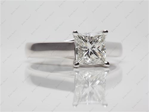 White Gold 1.53 Princess cut Diamond Solitaire Ring Settings
