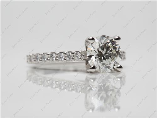 Platinum 1.18 Round cut Engagement Ring Settings With Side Stones