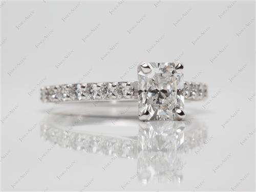 White Gold 1.01 Radiant cut Princess Cut Engagement Rings With Side Stones