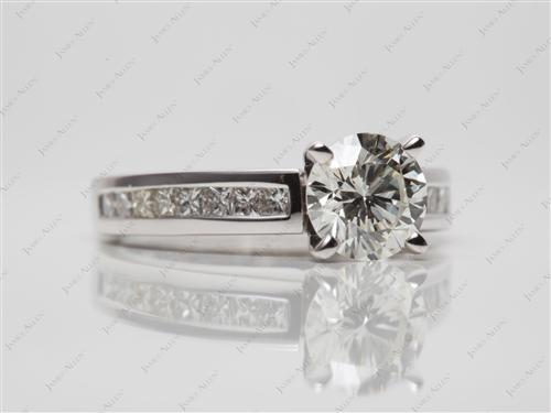 White Gold 1.07 Round cut Channel Setting Ring