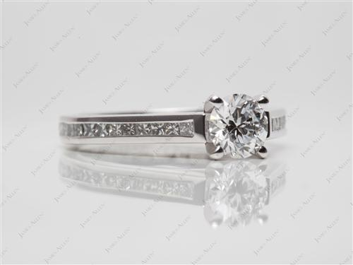 Platinum 0.72 Round cut Diamond Channel Rings