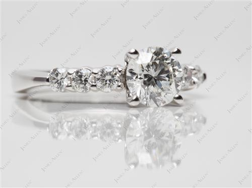 Platinum 1.01 Round cut Engagement Ring Side Stones