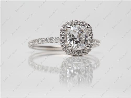 White Gold 1.05 Cushion cut Diamond Pave Ring