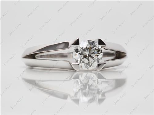 White Gold 0.71 Round cut Diamond Tension Ring