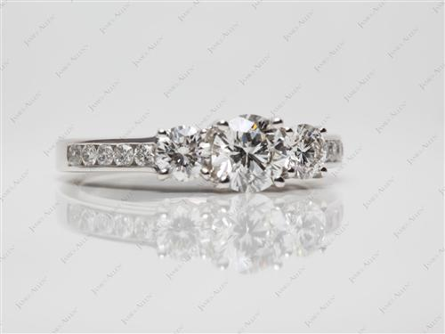 White Gold 0.70 Round cut Three Stones Rings