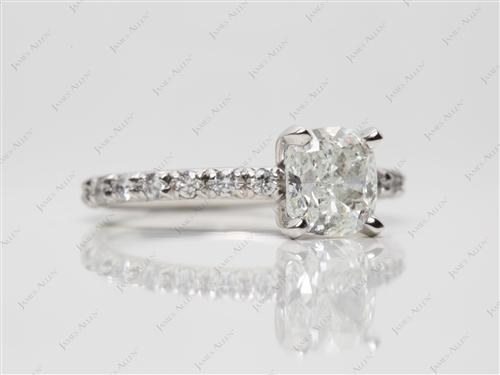 Platinum 1.30 Cushion cut Pave Diamond Engagement Ring