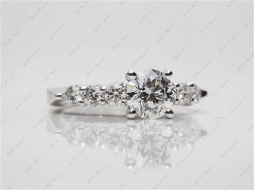 White Gold 0.83 Round cut Diamond Ring