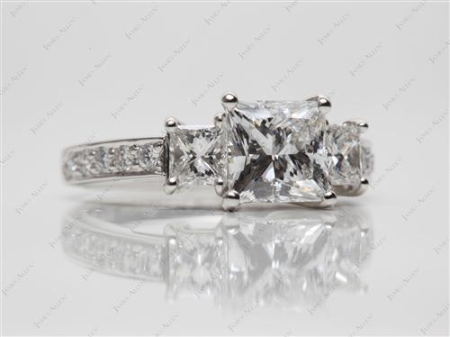 Platinum 1.51 Princess cut Three Stones Diamond Rings