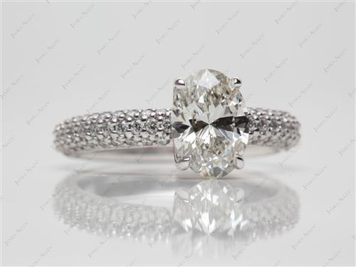White Gold 1.52 Oval cut Pave Engagement Ring
