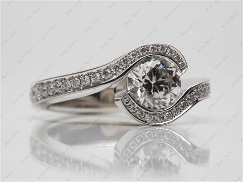 Platinum 1.22 Round cut Pave Ring Set