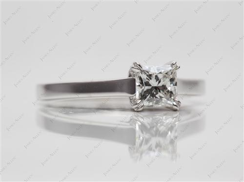 White Gold 0.65 Princess cut Solitaire Ring Setting