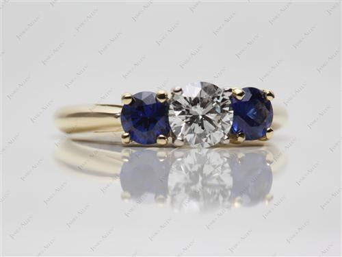 Gold 0.62 Round cut Gemstones Ring