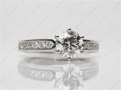 Platinum 1.40 Round cut Channel Set Diamond Engagement Ring