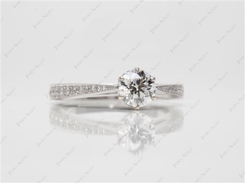 White Gold 0.71 Round cut Pave Engagement Rings