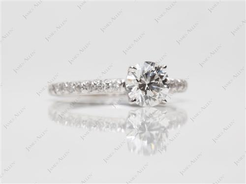 White Gold 0.74 Round cut Diamond Pave Ring