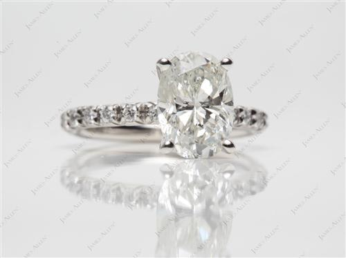 Platinum 2.23 Oval cut Diamond Pave Ring