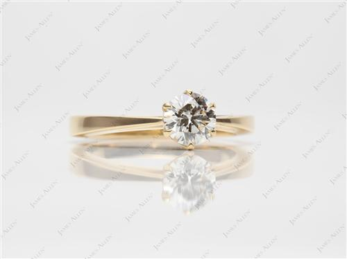 Gold 0.81 Round cut Round Solitaire Ring