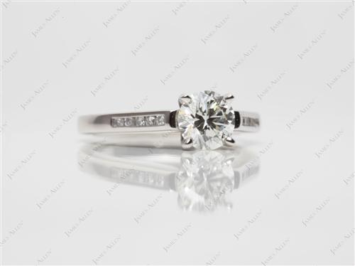 Platinum 0.85 Round cut Diamond Channel Rings