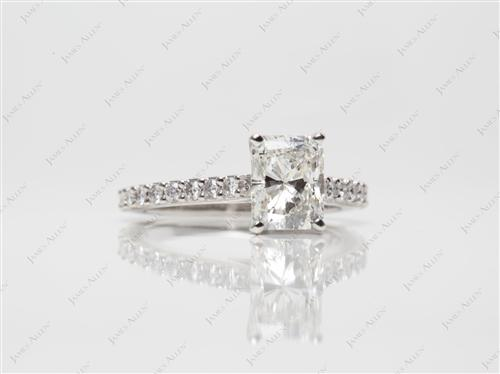 Platinum 1.20 Radiant cut Diamond Rings With Side Stones