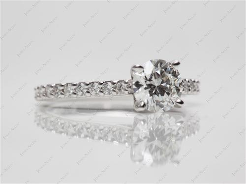 White Gold 0.90 Round cut Princess Cut Engagement Rings With Side Stones