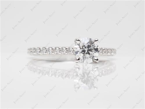 White Gold 0.70 Round cut Diamond Ring With Sidestones