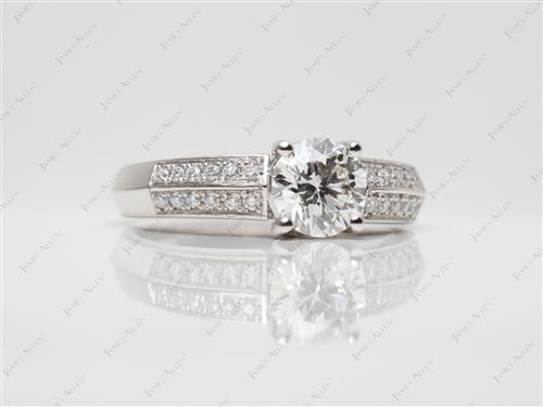 Platinum 1.09 Round cut Pave Ring Mountings