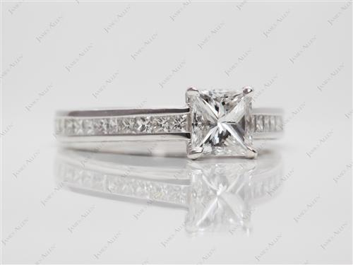 White Gold 0.90 Princess cut Channel Set Diamond Ring
