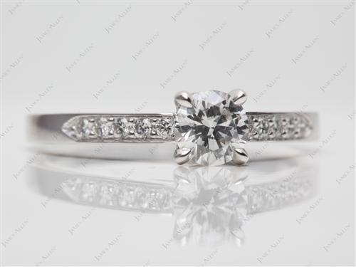 White Gold 0.60 Round cut Pave Diamond Rings